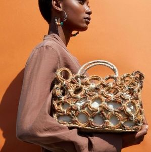 Stunning Zara NWT Natural Fabric Shopper Woven